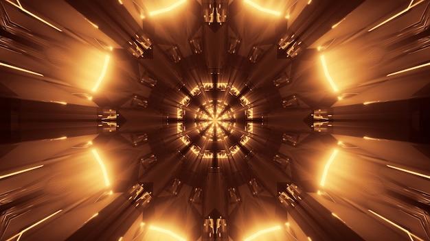 Kosmiczne tło ze złotymi światłami laserowymi