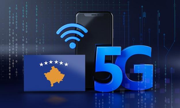 Kosowo gotowe do koncepcji połączenia 5g. renderowania 3d technologia smartphone tło