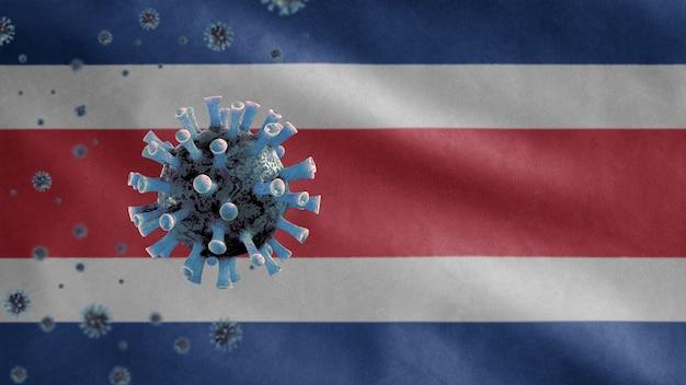 Kostaryka macha flagą i wirusem mikroskopowym koronawirusa