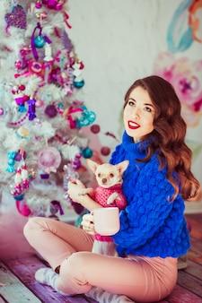 Kostium piękny pies ameryka niebieski