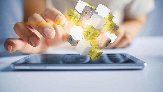 Kostka z ikonami społecznościowymi na smartfonie. koncepcja marketingu mediów. renderowanie 3d