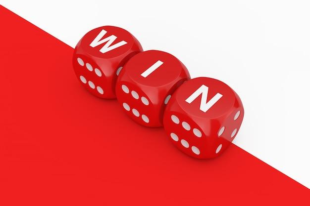 Kostki do gry red win na białym i czerwonym tle. renderowanie 3d