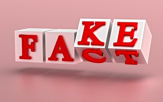 Kostki z literami odwracają się, a słowa zmieniają się z fact na fake. renderowanie 3d