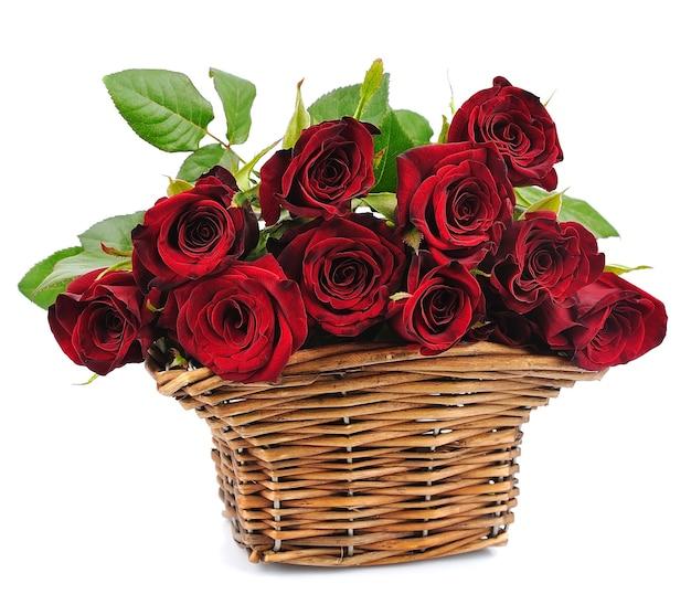 Kosz czerwonych róż na białym tle