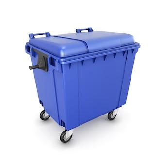 Kosz na śmieci na kółkach na białym tle. ilustracja 3d.