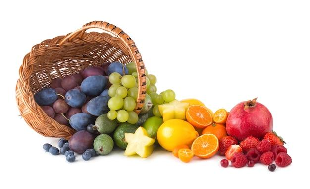 Kosz z dojrzałymi owocami jak tęcza