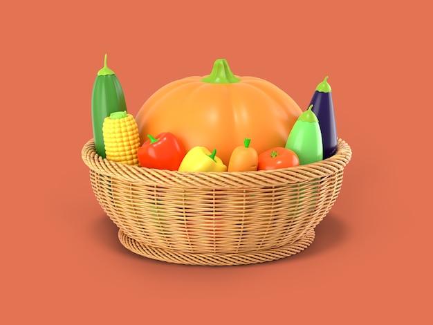 Kosz z jesiennym zbiorem warzyw renderingu 3d