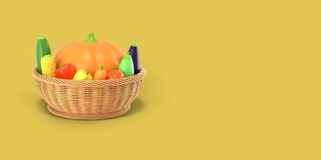 Kosz z jesiennymi zbiorami warzyw. renderowanie 3d.