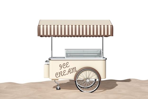 Koszyk Lodów Na Ekstremalnym Zbliżenie Sand Słoneczny Brzeg Na Białym Tle. Renderowanie 3d Premium Zdjęcia