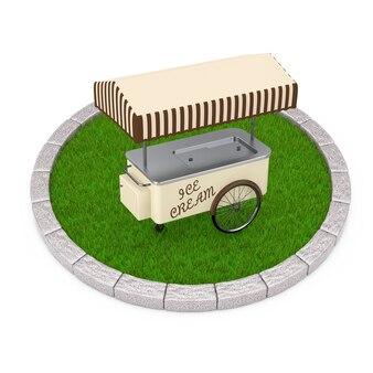 Koszyk lodów na rundzie działki gęstej zielonej trawie na białym tle. renderowanie 3d