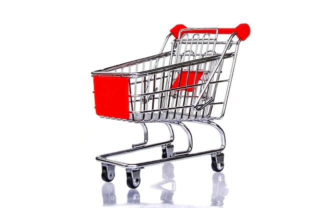 Koszyk metalowy sklep spożywczy, samochód zakupy, izolowane