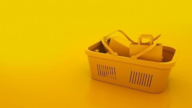 Koszyk na białym tle na żółtym tle. tło spożywcze. ilustracja 3d.
