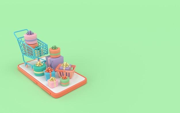 Koszyk na zakupy smartfona i koszyk z renderowaniem prezentu