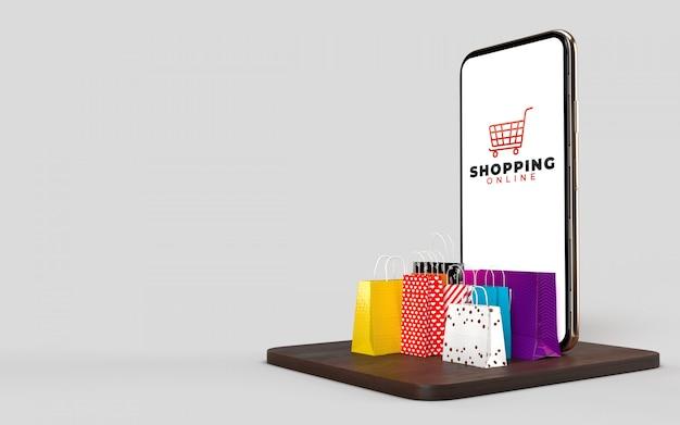 Koszyk na zakupy, torby na zakupy, a także pudełko produktu i telefon, który jest sklepem internetowym.