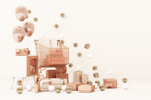 Koszyk na zakupy w supermarkecie otoczony przez pudełko upominkowe z kartą kredytową i wieloma gadżetami na różowo