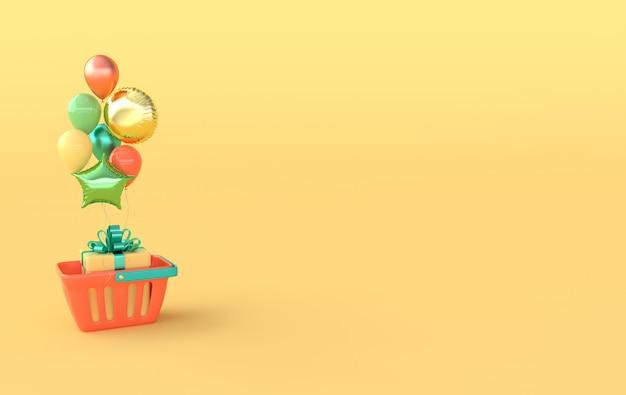 Koszyk na zakupy z pudełkiem na prezenty i kolorowymi balonami. renderowanie