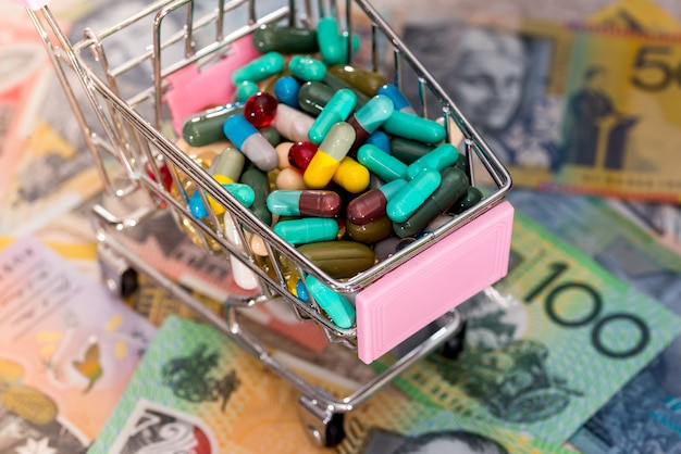 Koszyk pełen kolorowych tabletek na australijskich dolarach