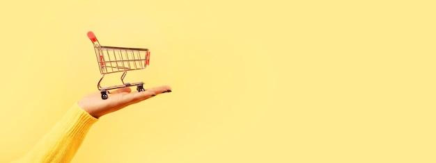 Koszyk w ręku na żółtym tle
