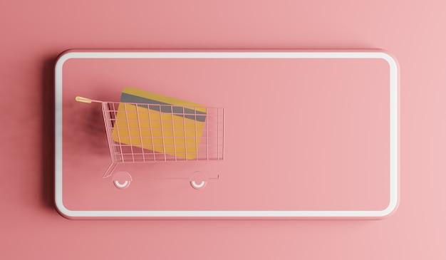 Koszyk w telefonie komórkowym. koncepcja zakupów online, renderowanie 3d