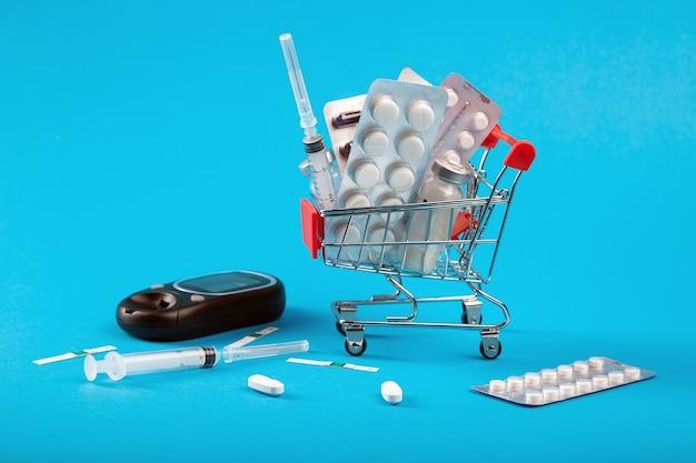 Koszyk z lekami i strzykawkami z insuliną dla chorych na cukrzycę. koncepcja apteki internetowej.