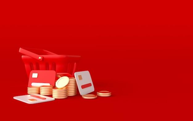 Koszyk zakupów karty kredytowe i złote monety