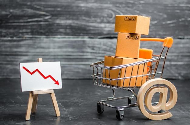 Koszyk załadowany pudełkami, symbolem e-maila i czerwoną strzałką w dół. zmniejszona sprzedaż online