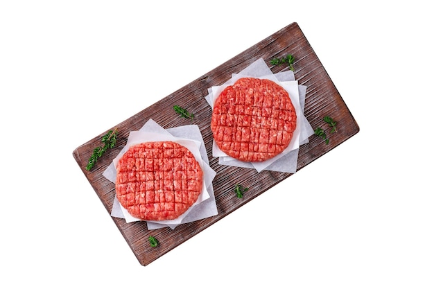 Kotleciki z surowego mięsa mielonego na burgery hamburgery z surowego mięsa kotlety wołowe