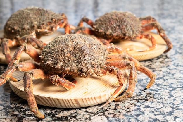 Kraby z bliska na drewnianych talerzach. owoce morza na pierwszym planie