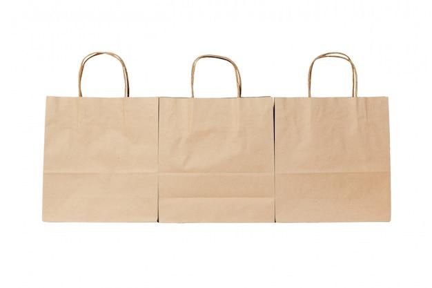 Kraft papierowa ekologiczna torba na odosobnionym bielu
