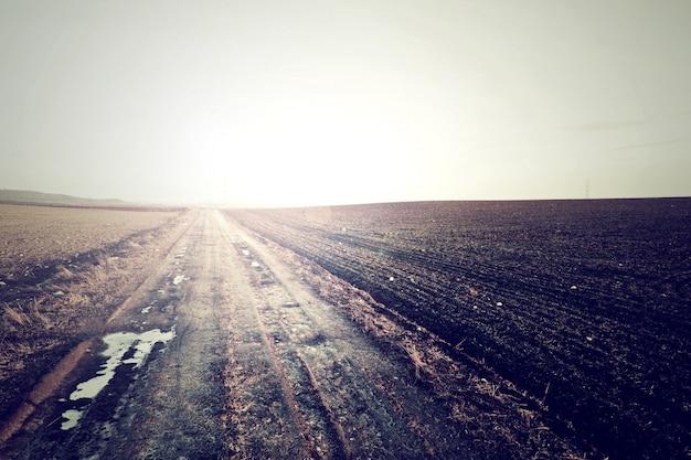 Kraj droga w zimnych kolorach vintage.