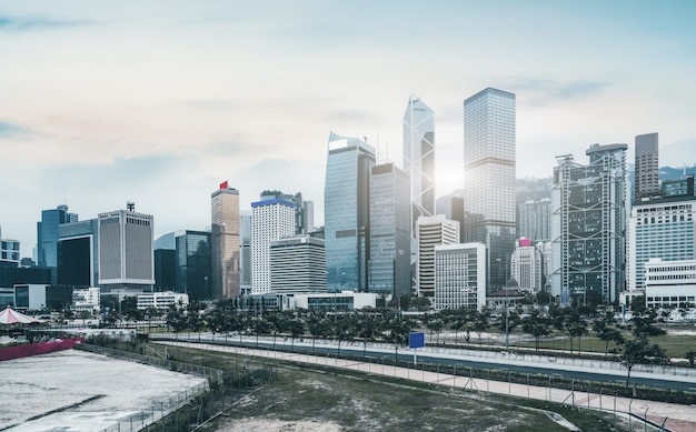 Krajobraz architektury miejskiej w hongkongu