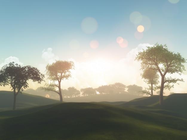 Krajobraz drzewa 3d i trawiaste wzgórza