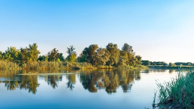 Krajobraz dużego cichego jeziora ze spokojną chłodną wodą w letni dzień