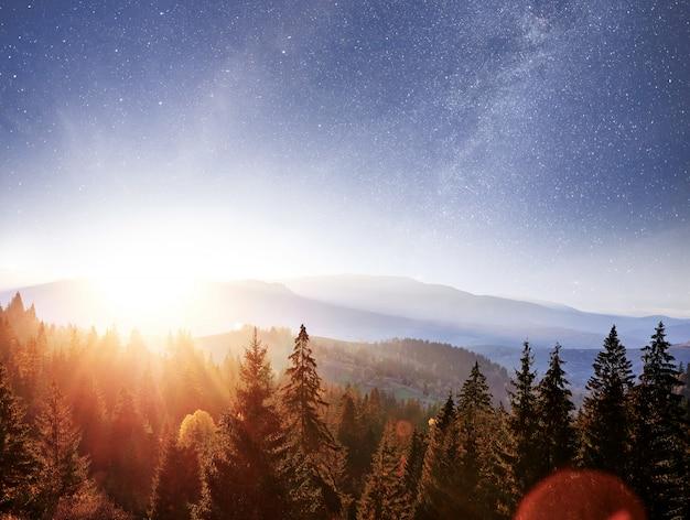 Krajobraz górski jesień. wysoka trawa i żywe nocne niebo z gwiazdami, mgławicą i galaktyką. astrofotografia z głębokiego nieba