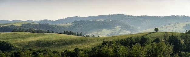 Krajobraz górski rano wśród pasm górskich w karpatach. panorama.