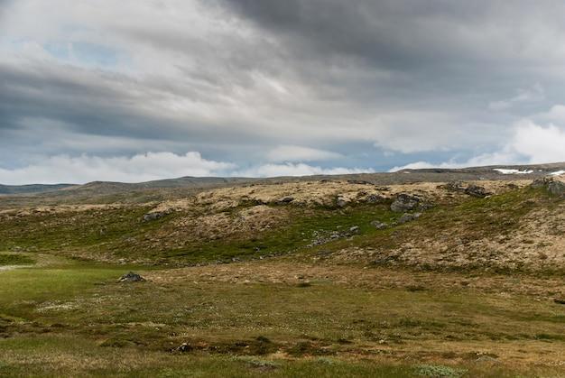 Krajobraz górski wzdłuż krajowej trasy turystycznej aurlandstjellet. flotane. zachodnia norwegia