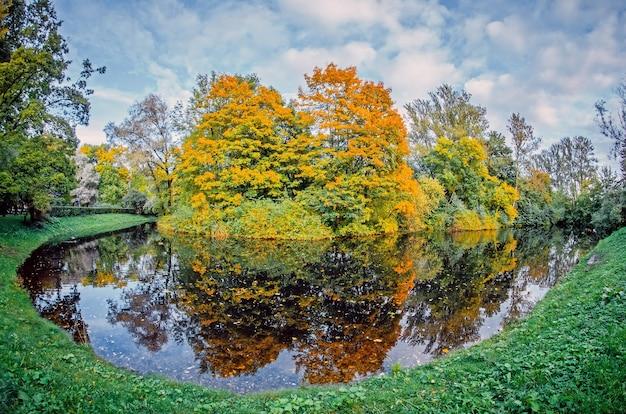 Krajobraz jesień odbicie krajobrazu lasu w jeziorze