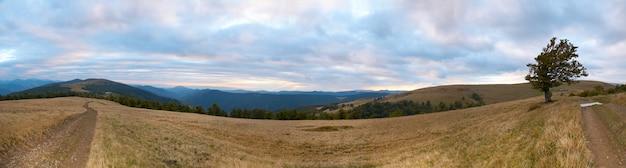 Krajobraz karpat (ukraina) z dwóch dróg krajowych. składa się z ośmiu zdjęć.