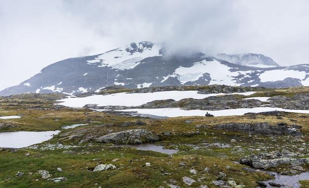 Krajobraz na krajowej trasie turystycznej sognefjellet przy pochmurnej pogodzie, norwegia