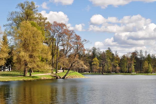 Krajobraz parku katarzyny w carskim siole. puszkin, st. petersburg, rosja