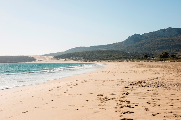 Krajobraz piękny seashore z górą na tle