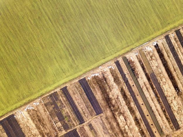 Krajobraz rolniczy z powietrza. prosta wąska droga gruntowa między słonecznymi zielonymi, suchymi i brązowymi zaoranymi polami.
