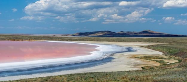 Krajobraz różowego jeziora z solą