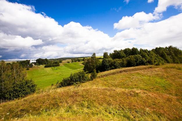 Krajobraz sfotografowany z wysokości wsi krevo na białorusi