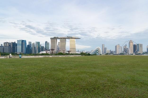 Krajobraz singapur pieniężny okręg w marina zatoce, singapur.