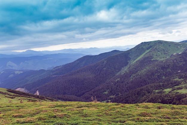 Krajobraz składający się z gór karpat z zieloną trawiastą doliną