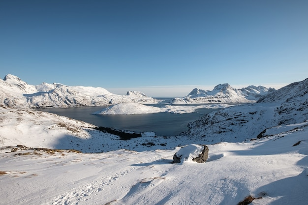 Krajobraz śnieżnego wzgórza z błękitnym niebem na zimę na lofotach, norwegia