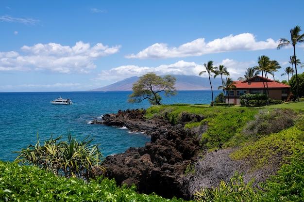 Krajobraz spokojnej plaży. hawaje w tle, tropikalny hawajski raj.
