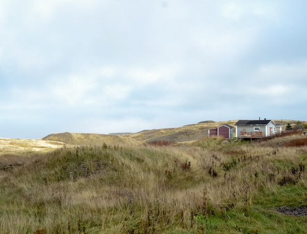 Krajobraz strzelał suchej trawy pole z domem widocznym w odległości