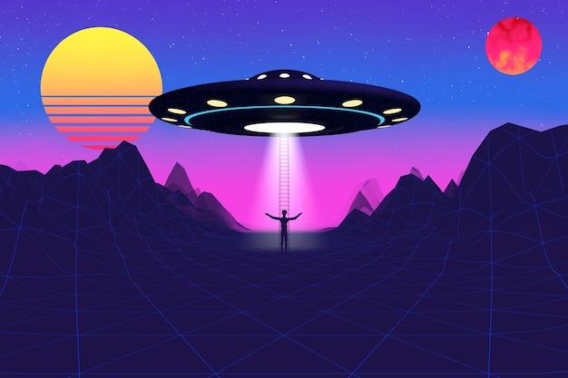 Krajobraz w stylu synthwave z lat 80. z drogą, górami, obnażonym słońcem, planetą i ekstremalnym zbliżeniem statku kosmicznego ufo. renderowanie 3d
